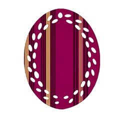 Stripes Background Wallpaper In Purple Maroon And Gold Ornament (oval Filigree) by Simbadda