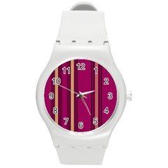 Stripes Background Wallpaper In Purple Maroon And Gold Round Plastic Sport Watch (m) by Simbadda