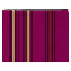 Stripes Background Wallpaper In Purple Maroon And Gold Cosmetic Bag (xxxl)  by Simbadda