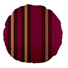 Stripes Background Wallpaper In Purple Maroon And Gold Large 18  Premium Round Cushions by Simbadda