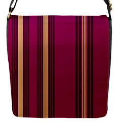 Stripes Background Wallpaper In Purple Maroon And Gold Flap Messenger Bag (s)