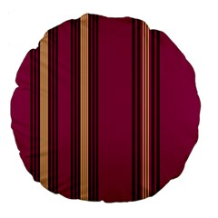 Stripes Background Wallpaper In Purple Maroon And Gold Large 18  Premium Flano Round Cushions by Simbadda