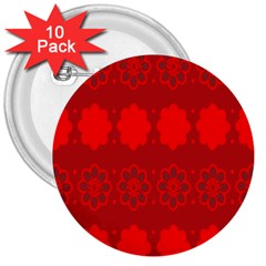Red Flowers Velvet Flower Pattern 3  Buttons (10 Pack)  by Simbadda