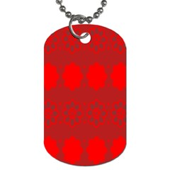 Red Flowers Velvet Flower Pattern Dog Tag (Two Sides)