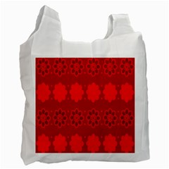 Red Flowers Velvet Flower Pattern Recycle Bag (Two Side)