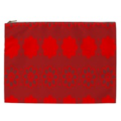 Red Flowers Velvet Flower Pattern Cosmetic Bag (xxl)  by Simbadda
