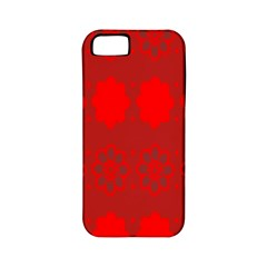 Red Flowers Velvet Flower Pattern Apple Iphone 5 Classic Hardshell Case (pc+silicone)