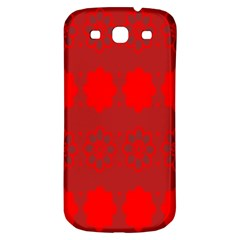 Red Flowers Velvet Flower Pattern Samsung Galaxy S3 S Iii Classic Hardshell Back Case by Simbadda