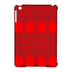 Red Flowers Velvet Flower Pattern Apple iPad Mini Hardshell Case (Compatible with Smart Cover)