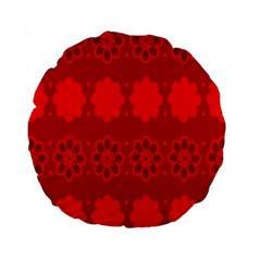 Red Flowers Velvet Flower Pattern Standard 15  Premium Round Cushions