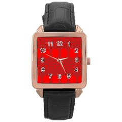 Red Flowers Velvet Flower Pattern Rose Gold Leather Watch