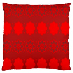 Red Flowers Velvet Flower Pattern Large Flano Cushion Case (two Sides) by Simbadda