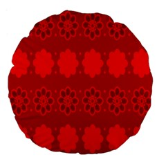 Red Flowers Velvet Flower Pattern Large 18  Premium Flano Round Cushions
