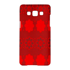 Red Flowers Velvet Flower Pattern Samsung Galaxy A5 Hardshell Case  by Simbadda