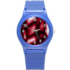 Red Abstract Background Round Plastic Sport Watch (s) by Simbadda