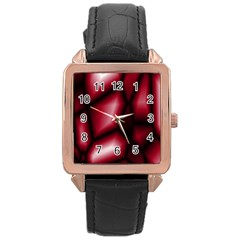 Red Abstract Background Rose Gold Leather Watch