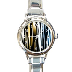 Digitally Created Striped Abstract Background Texture Round Italian Charm Watch by Simbadda