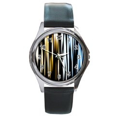 Digitally Created Striped Abstract Background Texture Round Metal Watch