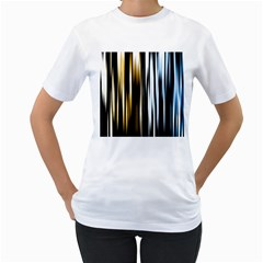 Digitally Created Striped Abstract Background Texture Women s T-Shirt (White) (Two Sided)
