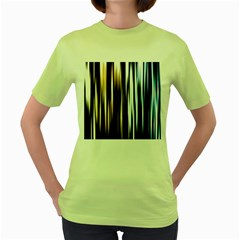 Digitally Created Striped Abstract Background Texture Women s Green T-Shirt