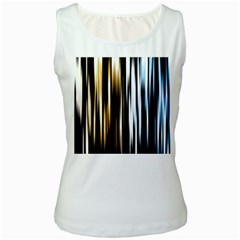 Digitally Created Striped Abstract Background Texture Women s White Tank Top