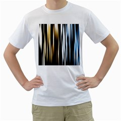 Digitally Created Striped Abstract Background Texture Men s T-Shirt (White) (Two Sided)