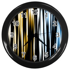 Digitally Created Striped Abstract Background Texture Wall Clocks (Black)