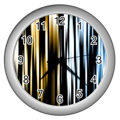 Digitally Created Striped Abstract Background Texture Wall Clocks (Silver)