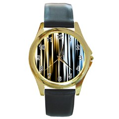 Digitally Created Striped Abstract Background Texture Round Gold Metal Watch