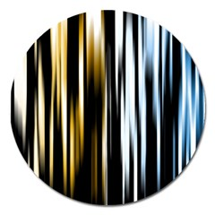 Digitally Created Striped Abstract Background Texture Magnet 5  (Round)