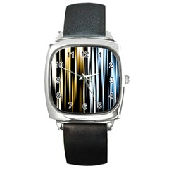 Digitally Created Striped Abstract Background Texture Square Metal Watch