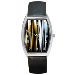 Digitally Created Striped Abstract Background Texture Barrel Style Metal Watch