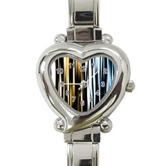 Digitally Created Striped Abstract Background Texture Heart Italian Charm Watch