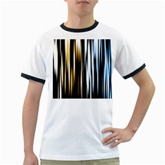 Digitally Created Striped Abstract Background Texture Ringer T-Shirts