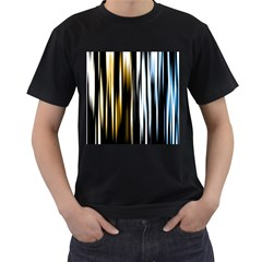 Digitally Created Striped Abstract Background Texture Men s T-Shirt (Black) (Two Sided)