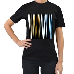 Digitally Created Striped Abstract Background Texture Women s T-Shirt (Black) (Two Sided)
