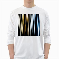 Digitally Created Striped Abstract Background Texture White Long Sleeve T-Shirts