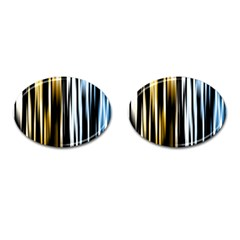 Digitally Created Striped Abstract Background Texture Cufflinks (Oval)