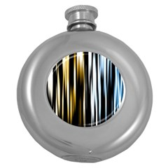 Digitally Created Striped Abstract Background Texture Round Hip Flask (5 oz)