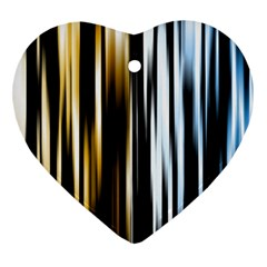 Digitally Created Striped Abstract Background Texture Heart Ornament (Two Sides)