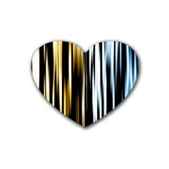 Digitally Created Striped Abstract Background Texture Rubber Coaster (Heart)