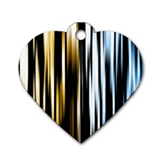 Digitally Created Striped Abstract Background Texture Dog Tag Heart (Two Sides)