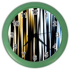 Digitally Created Striped Abstract Background Texture Color Wall Clocks