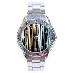 Digitally Created Striped Abstract Background Texture Stainless Steel Analogue Watch