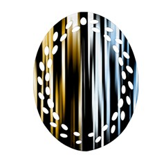 Digitally Created Striped Abstract Background Texture Oval Filigree Ornament (Two Sides)