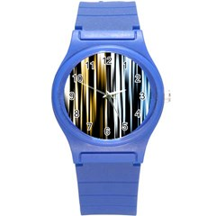 Digitally Created Striped Abstract Background Texture Round Plastic Sport Watch (S)