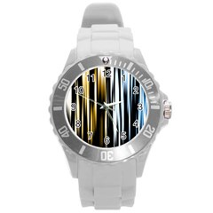 Digitally Created Striped Abstract Background Texture Round Plastic Sport Watch (L)