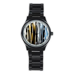 Digitally Created Striped Abstract Background Texture Stainless Steel Round Watch