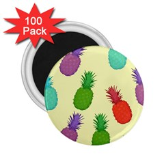 Colorful Pineapples Wallpaper Background 2 25  Magnets (100 Pack)  by Simbadda