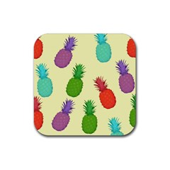 Colorful Pineapples Wallpaper Background Rubber Square Coaster (4 Pack)  by Simbadda